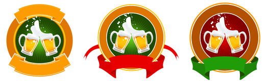 Design of beer label. Vector beer's label with mugs and banners Stock Image
