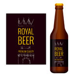 Design of beer label and bottle of beer Stock Images