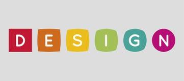 Design beschriftet Logo, Umwandlungskonzept lizenzfreie abbildung