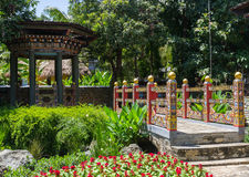 The design of bhutan bridge and pavilion Stock Photo
