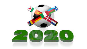 2020 design and Big Football European Flags Stock Image