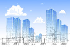 Design big modern city with skyscrapers Royalty Free Stock Image