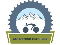 Design for bikers. Design, badge for mountain bikers with blue mechanic part as association for service Stock Images
