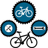 Design for bikers. Vector design Illustration with sign for bicycle service Royalty Free Stock Photography