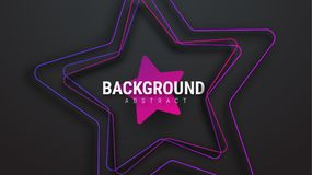 Design of a black background with an ultra-violet star. Template with strokes and shadows. Vector illustration Stock Photography