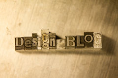 Design blog - letterpress text sign Stock Photography