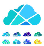 Design blue cloud logo element. Crushing abstract pattern. Colorful icons set Royalty Free Stock Image