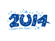 2014 design with blue horse. 2014 year design with blue horse stock illustration