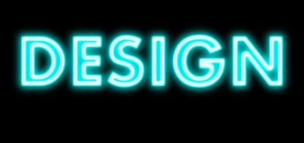 Design blue light glow neon sign Royalty Free Stock Image