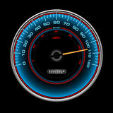 Design of blue speedometer, Speedo, clock with ind. Blue speedometer, Speedo, clock with white indexes and arrows on black background Stock Image
