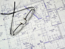 Design Blueprint. An open design blueprint on an Architect's desk Stock Image