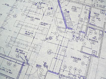 Design Blueprint. An open design blueprint on an Architect's desk Stock Photography