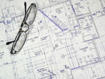 Design Blueprint. An open design blueprint on an Architect's desk Stock Photos