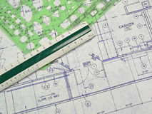 Design Blueprint. An open design blueprint on an Architect's desk Royalty Free Stock Photo