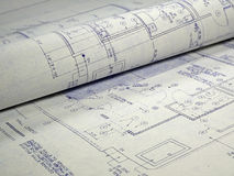 Design Blueprint. An open design blueprint on an Architect's desk Royalty Free Stock Photos