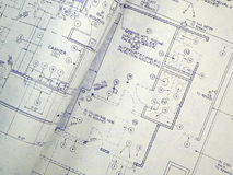 Design Blueprint. An open design blueprint on an Architect's desk Royalty Free Stock Images