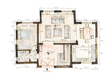 Design blueprint. Blueprint of a house, sketch style Stock Images