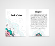 Design of boock cover whit doodle abstract flower Stock Photos