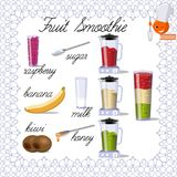Design for a book of recipes. Recipe for fruit smoothies. Elements for the design of culinary sites Royalty Free Stock Photo