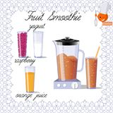 Design for a book of recipes. Recipe for fruit smoothies. Royalty Free Stock Photography