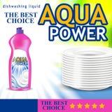 Design of a bottle of detergent for dishes. Dishwashing detergent ads. 3d vector illustration vector illustration