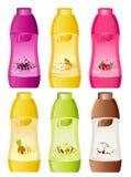 Design of bottle milky products. Set of design of bottle milky products with fruit Stock Photo