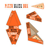 Design of box for pizza slice. Retro style. Orange unwrapped box with layout elements and 3d presentation Stock Image