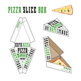 Design of box for pizza slice. Retro style. Unwrapped box with layout elements and 3d presentation Royalty Free Stock Photography