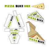 Design of box for pizza slice. In the style of hand-drawn graphics. Unwrapped box with layout elements and 3d presentation Stock Photos