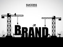 Design brand building concept, vector illustration. Many men help each other to construct brand building vector illustration