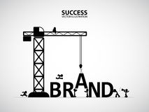Design brand building concept, vector illustration. Many men help each other to construct brand building royalty free illustration