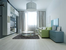 Design of bright colored living room kitsch style Stock Photo