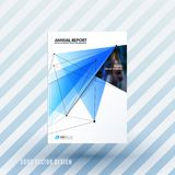 Design of brochure, abstract annual report, cover modern. Layout, flyer in A4 with trendy blue polygons triangles, abstract shapes for finance with vector Royalty Free Stock Photo