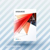 Design of brochure, abstract annual report, cover modern. Layout, flyer in A4 with trendy red polygons triangles, abstract shapes for finance with vector Stock Photography