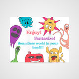 Design of brochure with abstract monsters pattern. Stock Photos
