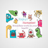Design of brochure with abstract monsters pattern. Royalty Free Stock Photos