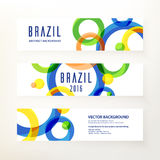 Design brochure. Set of modern horizontal vector banners. Circular ornament, geometric pattern in Brazil color concept. Design elements for your project and Stock Images