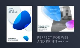 Design of brochure soft template cover. Colourful modern abstract set, annual report with shapes for branding. Design of brochure smooth soft template. Creative vector illustration