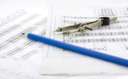 Design for a building. And tools Stock Image