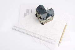 Design for a building and mock-up of future house Royalty Free Stock Images