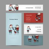 Design of business cards with workers people Royalty Free Stock Photography