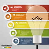 Design Business Chart 5 Steps Diagram in Light Bulb Shape. Royalty Free Stock Photo