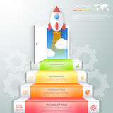 Design business staircase doorway concept, startup infographics. Vector illustration vector illustration