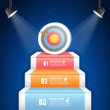 Design business staircase to target conceptual infographics. Stock Photos