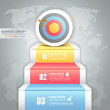 Design business staircase to target conceptual infographics. Royalty Free Stock Photos