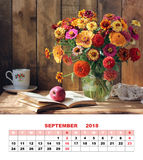 The design of the calendar page, September 2018. Bouquet of gard Royalty Free Stock Images