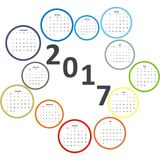 Design Calendar 2017 year months in circles Royalty Free Stock Images