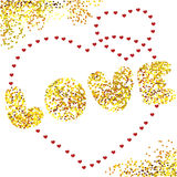 Design card Love. Design vector card Love. golden heart background stock illustration