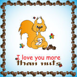 Design card with loved squirrel for Valentine Day. Design card with loved doodle squirrel and nuts and text for St. Valentine Day Royalty Free Stock Photos