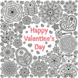 Design of card for Valentines day. Pattern with flowers, hearts, bear, gift and key.